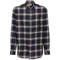 GUCCI camicia in lana check con patch in pelle
