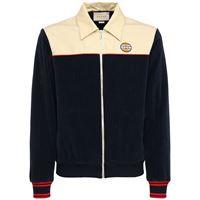 GUCCI giacca in velluto di cotone con logo