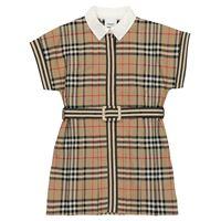 Burberry Kids abito a quadri in cotone con cintura