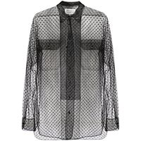 Maison Margiela blusa semi trasparente a pois - nero
