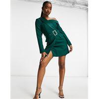Lavish Alice - vestito corto monospalla stile smoking verde bosco