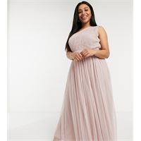 Anaya Plus anaya with love plus - vestito lungo per damigella monospalla in tulle, colore rosa