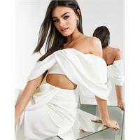ASOS EDITION - top da sposa drappeggiato con spalle scoperte-bianco
