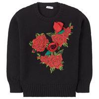 Dolce & Gabbana bambino - flower applique wool knit maglione nera - bambina - 12 anni - nero