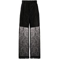 MSGM pantaloni dritti semi trasparenti - nero