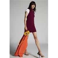 Dsquared2 donna vestito melanzana taglia m 70% viscosa 30% poliestere