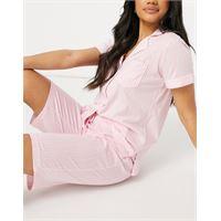 Lauren by ralph lauren - pigiama rosa a righe con colletto con rever e bermuda
