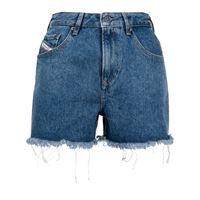 Diesel shorts denim con orlo sfilacciato - blu