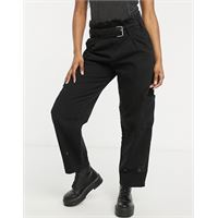 AllSaints - jeans a vita alta multitasche neri-nero