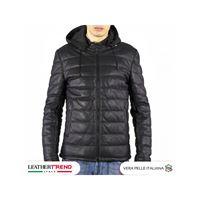 Leather Trend Italy berlino - piumino uomo artigianale in vera pelle nero morbida