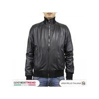 Leather Trend Italy bomber uomo - giacca in pelle di agnello nappa nero morbida