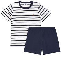 Petit Bateau - bambino - pigiama 2 pezzi a righe - 6 anni - ecru - avorio
