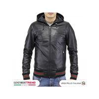 Leather Trend Italy bomber napoli cap - giubbotto uomo in vera pelle morbida made in