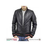 Leather Trend Italy david - bomber uomo in vera pelle colore nero morbida special edition