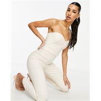 Vesper - tuta jumpsuit a fascia con corsetto, color écru-crema