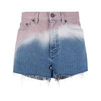 Saint Laurent shorts denim con effetto sfumato - blu