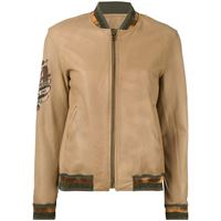 Mr & Mrs Italy tattoo-style print leather bomber - marrone