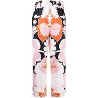 Valentino pantaloni a fiori crop - rosa