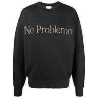 Aries felpa con slogan no problem - nero