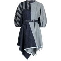 Marques'Almeida vestito denim con design patchwork - blu