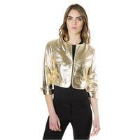 D'Arienzo giacca corta bolero in pelle oro girocollo nappa laminata effetto liscio