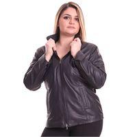 D'Arienzo giacca in pelle nera taglie forti nappa effetto liscio