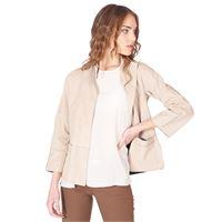 D'Arienzo giacca bolero in pelle beige scamosciata fodera tessuto