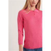 Tezenis maglia polo in viscosa manica 3/4 donna rosa