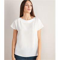 Falconeri t-shirt scollo barchetta in seta e modal bianco