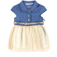 Mayoral - bambina - tulle denim vestito blu - 12 mesi - blu