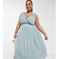TFNC Plus - vestito da damigella con gonna al polpaccio e davanti a portafoglio color salvia a pieghe-verde