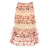 ZIMMERMANN gonna midi lucky a balze 1 beige, marrone, viola seta