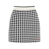 MIU MIU minigonna in lana vichy f12 42 bianco, nero lana