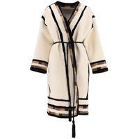BLANCHA cappotto shearling con inserti 42 beige, nero, marrone pelle, pelliccia