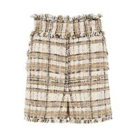 MSGM shorts in tweed tartan 38 beige, marrone, nero cotone