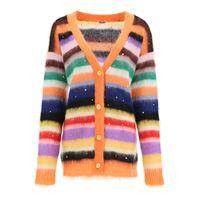 MIU MIU cardigan mohair f 3 a righe con cristalli 36 arancio, verde, viola lana