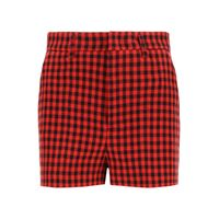 RED VALENTINO shorts vichy 38 rosso, nero lana