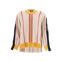 AMBUSH pullover asimmetrico color block 1 beige, rosso, giallo lana