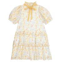 Paade Mode abito viola a stampa floreale in cotone e seta