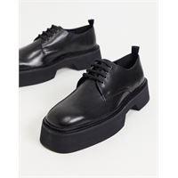 ASOS DESIGN - scarpe stringate nere in pelle colour block con punta squadrata e suola spessa-nero