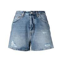 Haikure shorts denim con effetto vissuto - blu