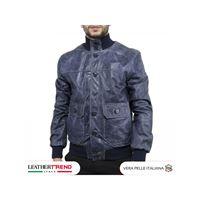 Leather Trend Italy bomber uomo in vera pelle di agnello con bottoni