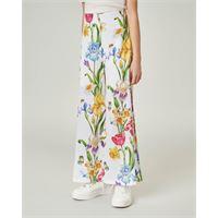 Elsy pantalone bianco a palazzo con stampa floreale 36-38