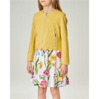 Elsy giacca gialla con chiusura zip in tessuto stretch 36-38