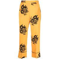 Nº21 pantaloni crop a fiori - giallo