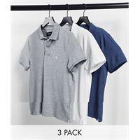 Abercrombie & Fitch - confezione da 3 polo in piqué con logo icona bianco/blu/grigio mélange-multicolore