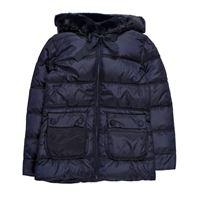 Invicta giubbotto invernale piumino blu notte da bambina e ragazza con cappuccio e particolari in ecopelliccia