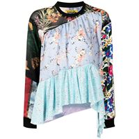 Marques'Almeida blusa svasata a fiori - multicolore
