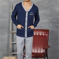 NAVIGARE pigiama da uomo cardigan caldo cotone 141156 NAVIGARE