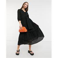 Selected femme - vestito midi in pizzo di cotone organico nero con motivo a spina di pesce